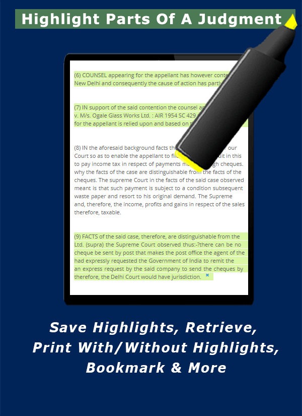 Highlight parts of a judgment. Save, retrive, print with or without highlights, Bookmark into a diary or link to a case. - LawyerServices Feature Preview 3 of 12.